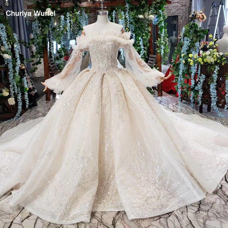 HTL482 fairy princess wedding dresses boat neck appliques long tulle sleeve ball gown lace wedding gowns vestido de noiva 2019
