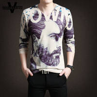 Luxury Knitted T Shirt Homme Casual Slim Fit 3D Printed Pattern Men Clothes Fashion V Neck