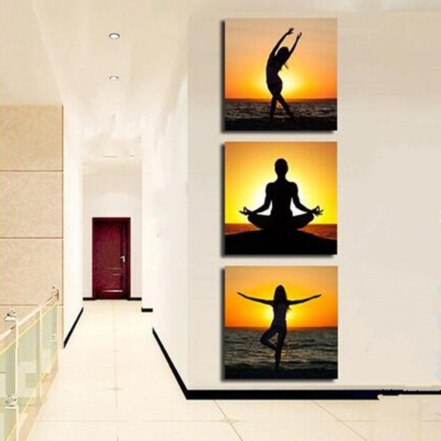 Hand Painted Yoga Girls Acrylic Paintings Modern Home Decor Wall Art 3 Panel Pictures Set Women