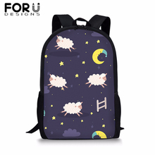 FORUDESIGNS Cartoon Animal Print School Bags for Teen Boys Girls Schoolbags Childrens Backapck Book Students