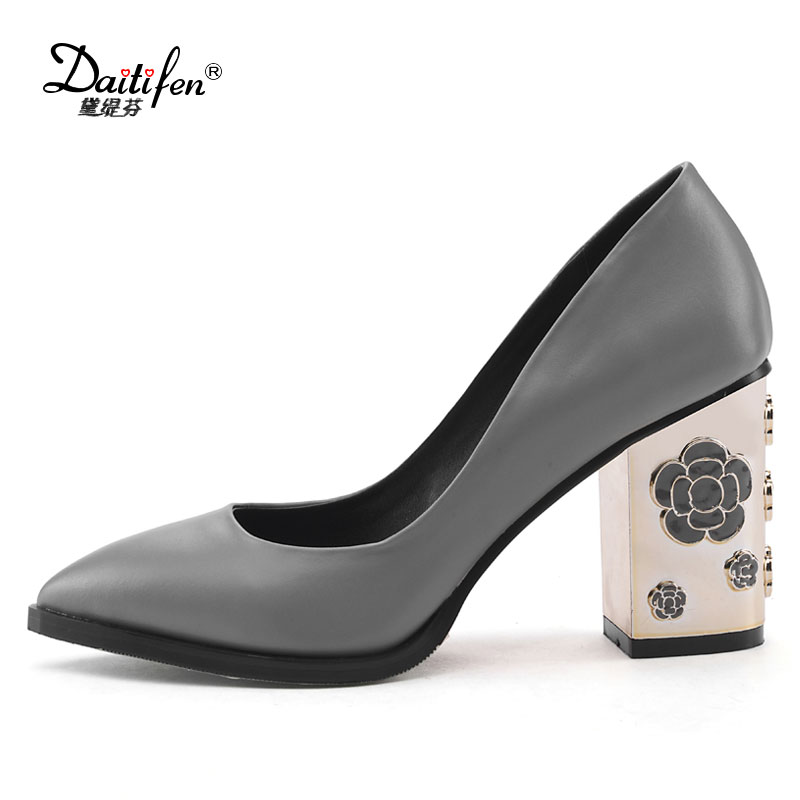 Daitifen Genuine Cow Leather solid Square high heels gladiator women Wedding Party pumps pointed toe Office Lady shoes size 43 2017 gladiator shoes women high heels slip on women pumps solid color round toe elegant high quality dress office lady shoes