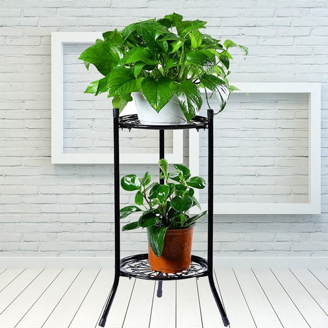Flowerpot Rack 2 Tier Plants Stand Garden Flower Pot Holder European Style Toilet Storage Bathroom Organizer