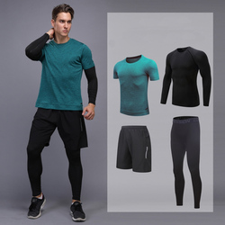 Hot Sales Mens Sport Suit 4pcs Fitness Sportswear Soccer Basketball Jersey Quick Dry Tracksuits Running Set Jogging Suits Men