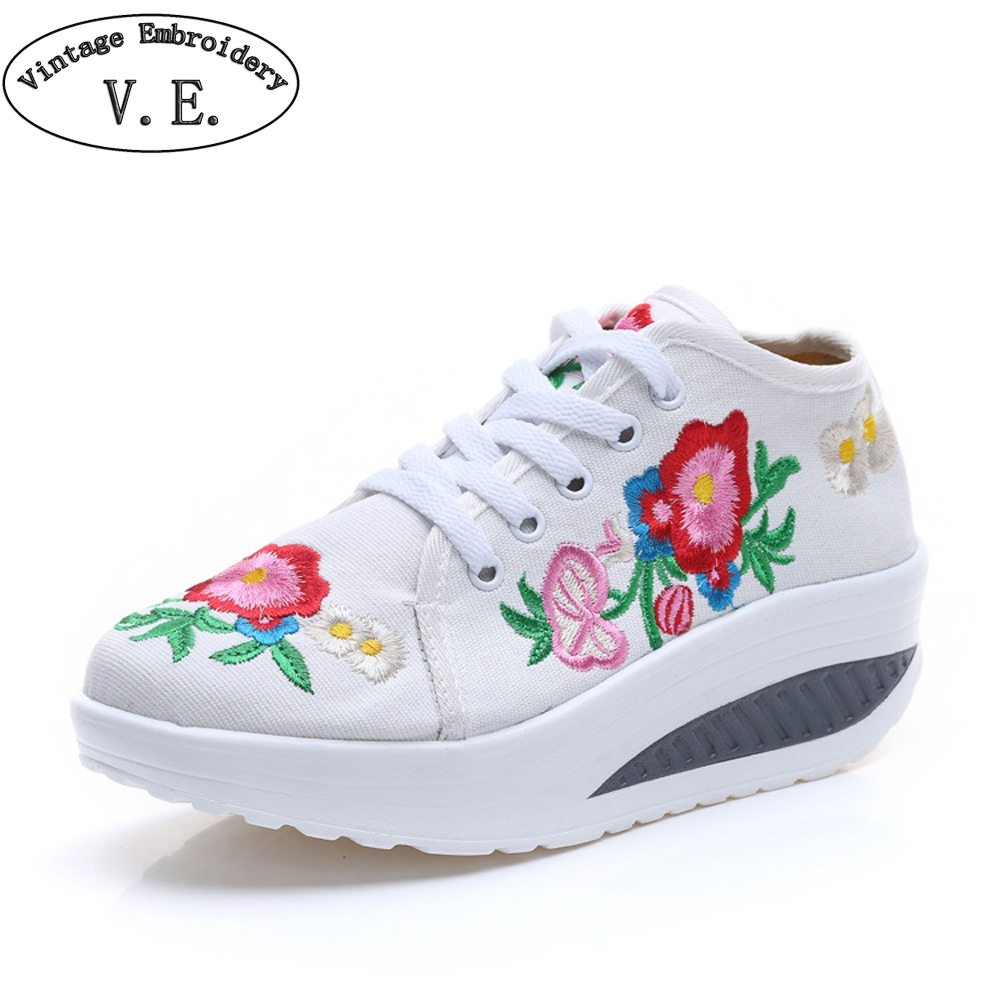 New Arrive Chinese Old BeiJing Embroidery Women Sneakers Spring Autumn Platform Shoes Travel Walking Casual Shoes Woman vintage pumps spring autumn old beijing embroidery cloth shoes fairy girl embroidered national han chinese women s shoes