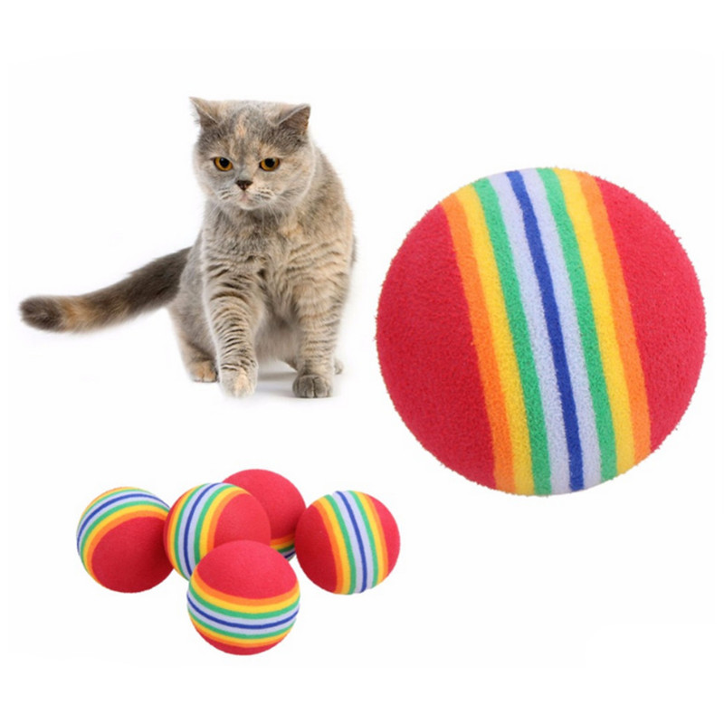 10Pcs Colorful Cat Training Ball Toy Interactive Cat Toys Play Chewing Rattle Scratch Natural Foam Ball Training Pet Supplies