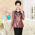 Long Sleeve Blouse Lace Diamond Spring Fall Fashion New Middle Age Mother Printed Flower Shirt Plus Size Women Slim Top Cardigan