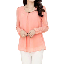 2017 NEW Women's Chiffon Long Sleeve Slim O-neck Casual Blouse Tops Shirt Pink