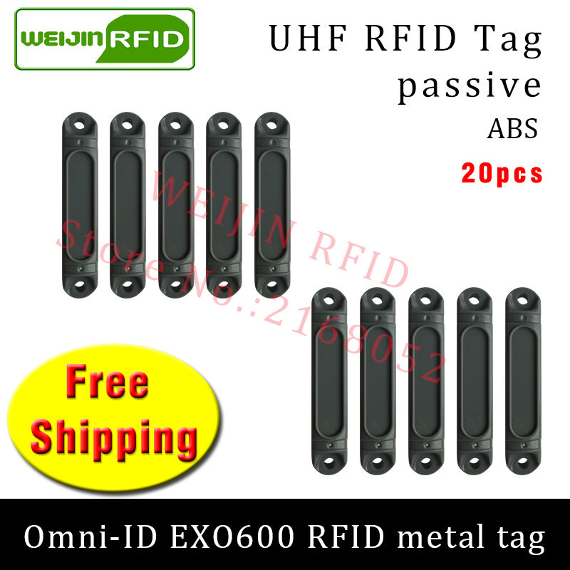 UHF RFID metal tag omni-ID EXO600 915m 868mhz Impinj Monza4QT EPC 20pcs free shipping durable ABS smart card passive RFID tags