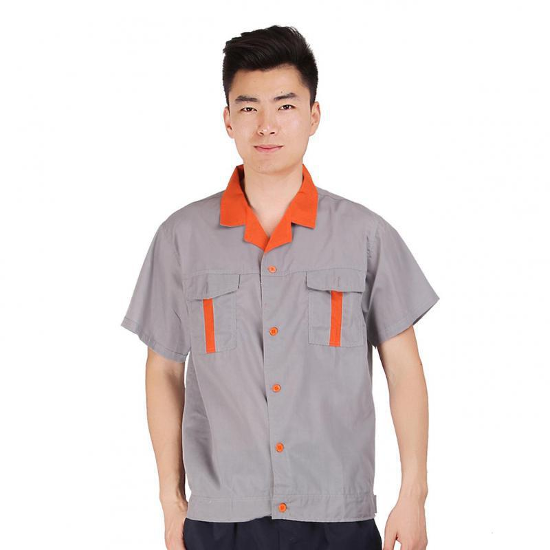 2016 Summer Unisex Gray Breathable Factory Clothing Short Sleeve Turn-down Collar Workwear Absorbent Comfort Clothes Hot Sale