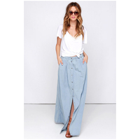 BFYL Women S New Fashion Spring Summer Skirt Women Single Breasted Denim Skirt Casual Style High