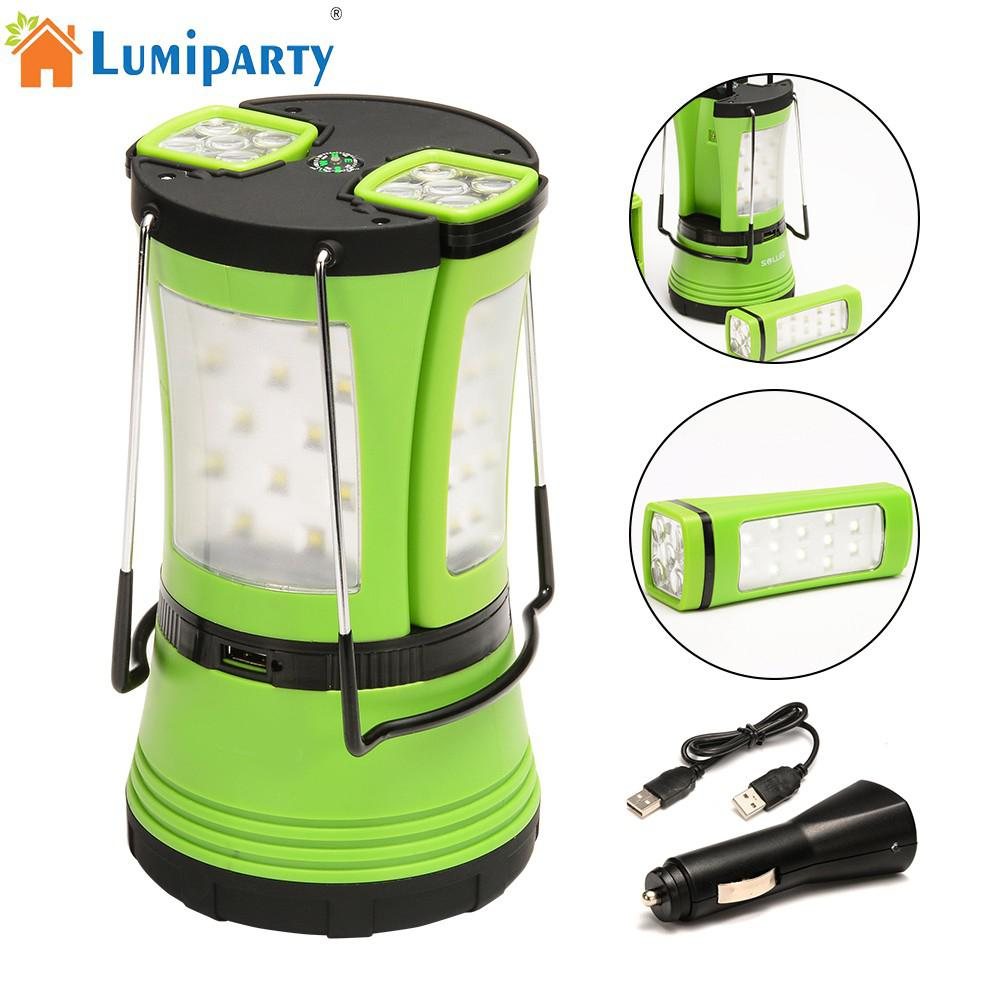 LumiParty 600lm LED Camping Light Lantern with 2 Detachable Handy Flashlights Torchs Water Resistant Tent Light with Compass