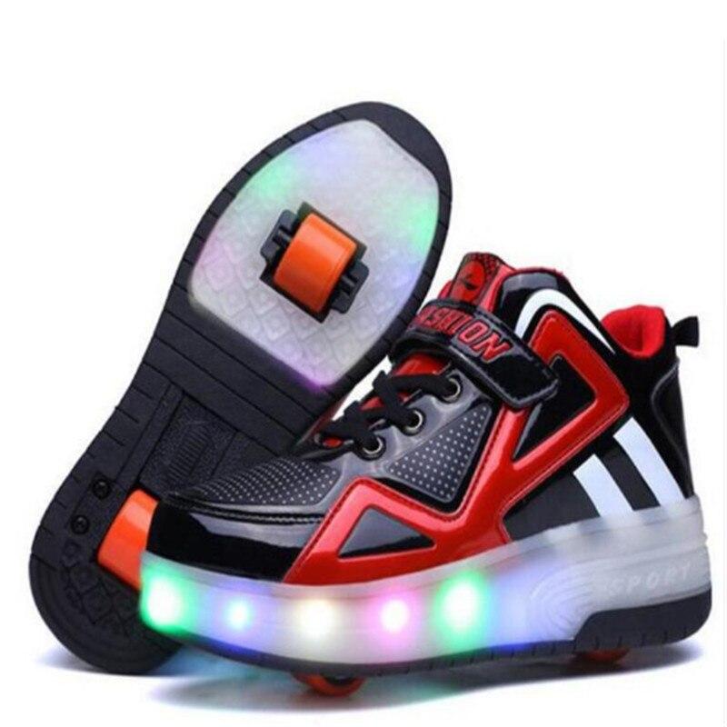 14y adulte enfants chaussures enfants Roller chaussures avec LED respirant mode garçons et filles heelies Sneakers sport décontracté pour les enfants
