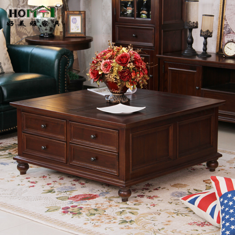 Solid Wood Coffee Tables With Storage Cabinets For Sale: American Country Of Pure Solid Wood Coffee Table Large