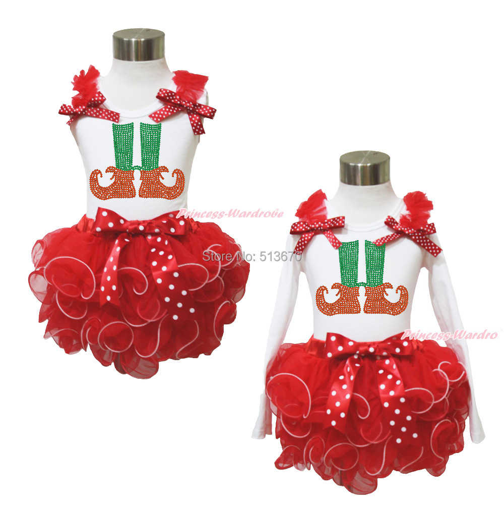 XMAS Rhinestone Elf Foot Sock White Top Red Petal Baby Girl Pettiskirt Set NB-8Y MAPSA0052 цены онлайн