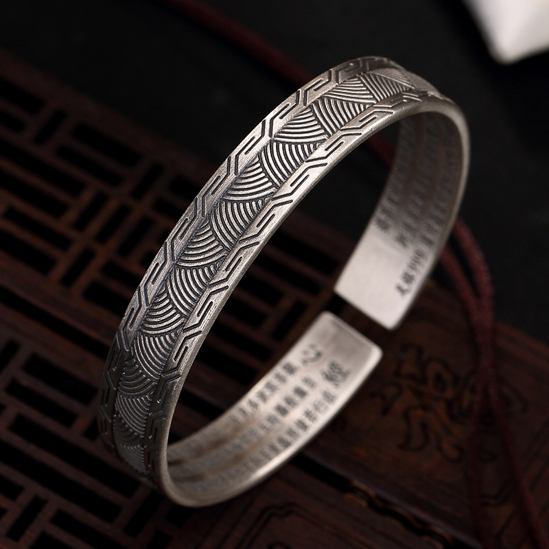 grain opening heart sutra bracelet high-grade joker male restoring ancient ways ms sterling silver bracelets wholesalegrain opening heart sutra bracelet high-grade joker male restoring ancient ways ms sterling silver bracelets wholesale