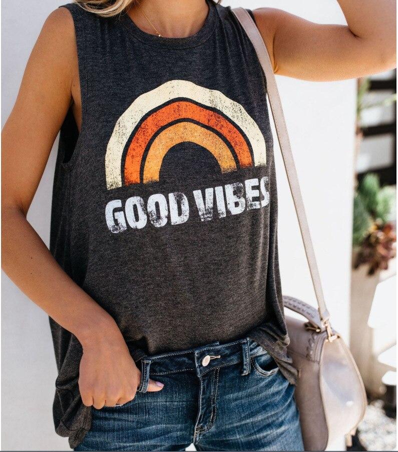 Cuello redondo Arco Iris letra buenas vibraciones impresión Casual chaleco ropa estética mujeres gráfico Popular camisetas