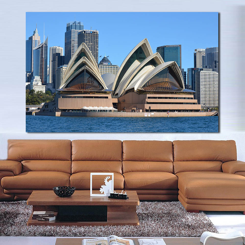 WANG ART Sydney Opera House Oil Painting Canvas Art Home Decor Wall Pictures  For Living Room Modern No Frame Picture