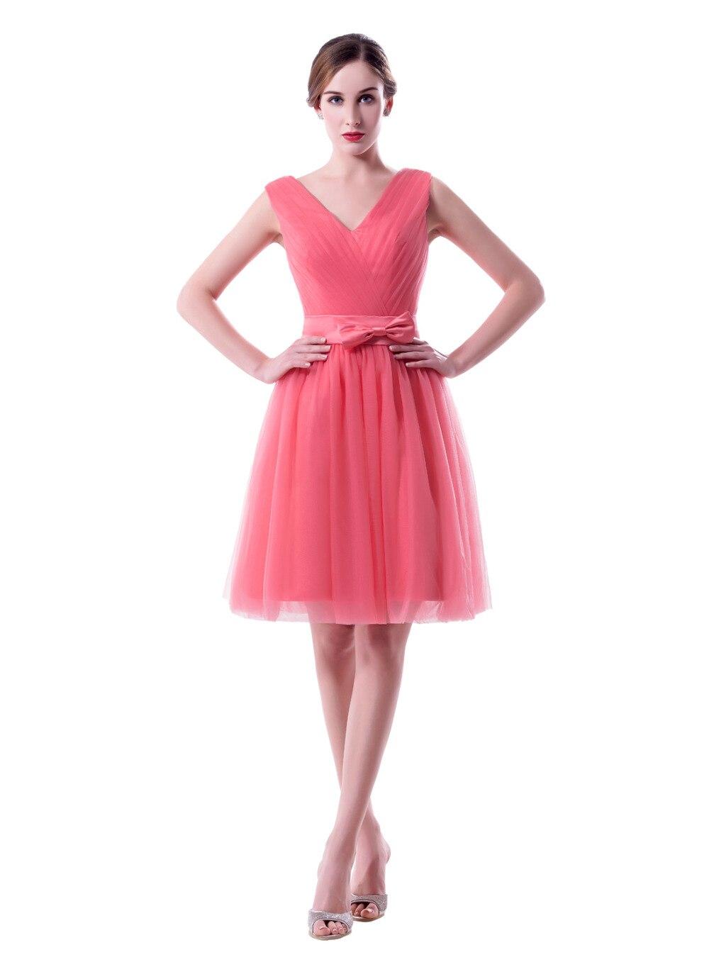 2017 Nuevo color de Rosa Caliente Corto Tul de dama de Honor ...