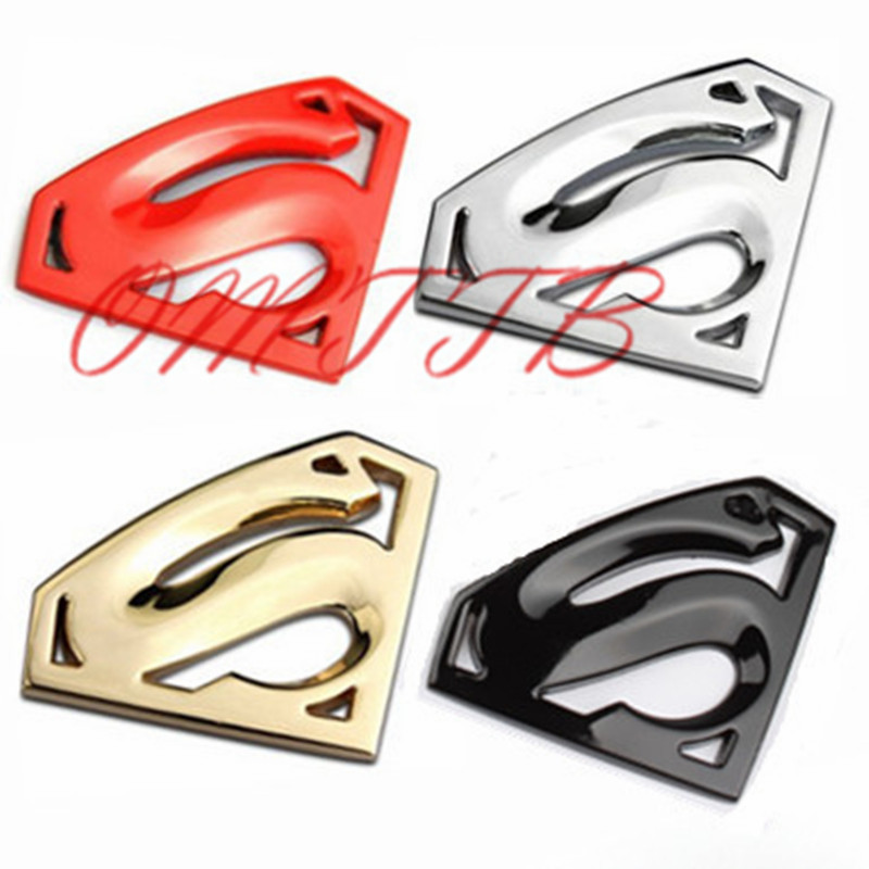 3D chrome metal Superman emblem badge Motorcycle car accessories Car styling Funny car stickers for bmw benz audi toyota mazda auto chrome camaro letters for 1968 1969 camaro emblem badge sticker