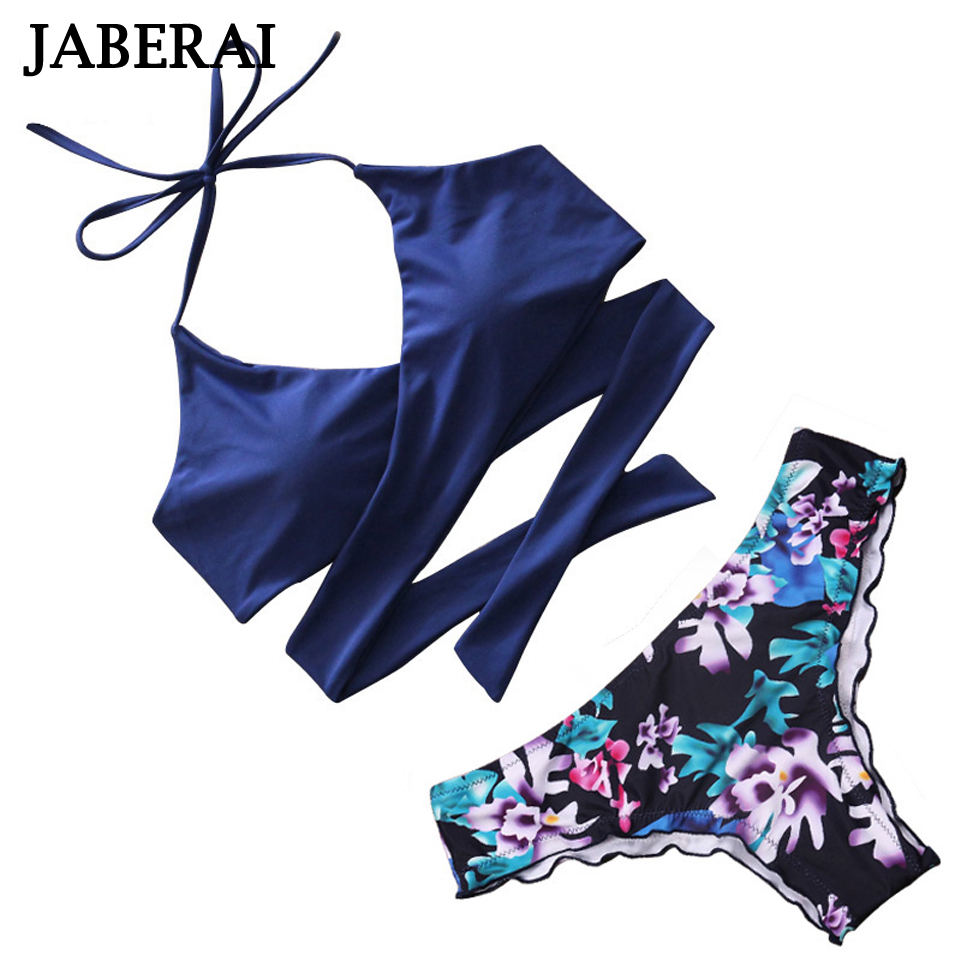 JABERAI Strappy Brazilian Bikini 2017 Swimsuit Sexy Cross Bikini Set Women Push Up Swimwear Halter Floral Bathing Suit Beachwear pink solid color swimwear high neck halter bathing suit brazilian style beachwear xs xl plus size swimsuit strappy bikini set
