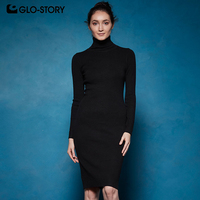 GLO STORY 2019 Winter Women Basic Turtleneck Sweater Dress Solid Bodycon Sexy Party Dress Elegant Vestidos for Female WYQ 7628