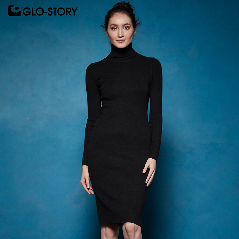 GLO-STORY 2019 Winter <font><b>Women</b></font> Basic Turtleneck Sweater <font><b>Dress</b></font> Solid Bodycon <font><b>Sexy</b></font> <font><b>Party</b></font> <font><b>Dress</b></font> Elegant Vestidos for Female WYQ-7628 image