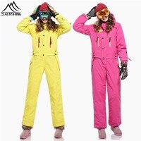 SAENSHING One Piece Ski Suit Women Mountain Skiing jacket + Snowboard Pants Female Waterproof Thicken Set Winter Snow Jumpsuit