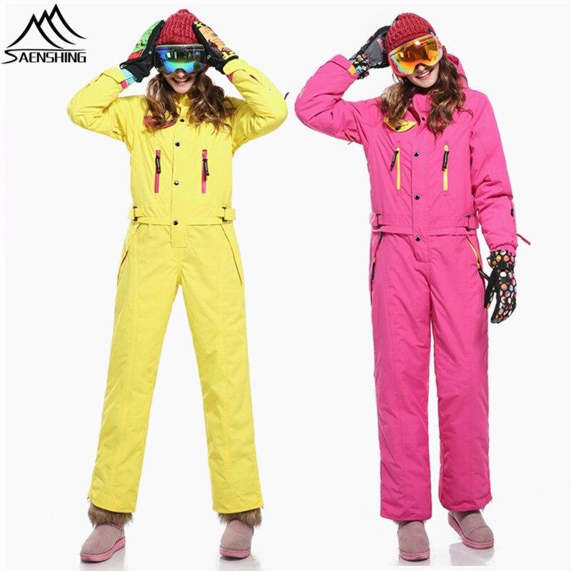SAIGNEMENT une pièce combinaison de Ski Femmes Montagne Ski veste + pantalons de snowboard Femelle Étanche Épaissir Ensemble D'hiver Combinaison De Neige