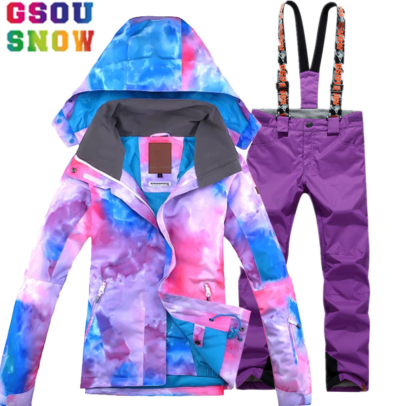 GSOU SNOW Ski Suit Women Waterproof Ski Jacket Pants Winter Mountain Skiing Suit Cheap Snowboard Sets Outdoor Sports Clothing gsou snow waterproof ski jacket women snowboard jacket winter cheap ski suit outdoor skiing snowboarding camping sport clothing