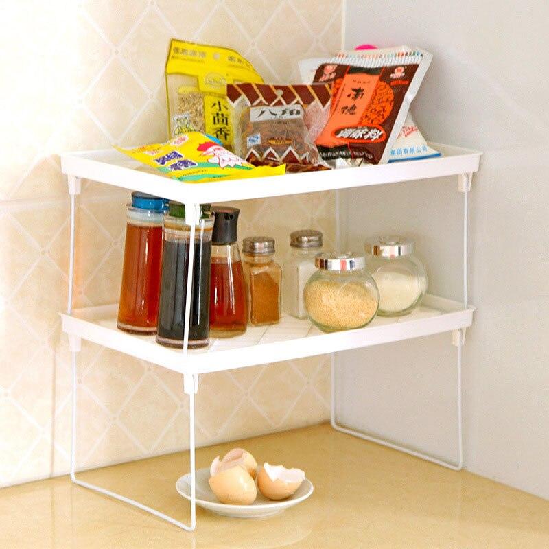 unids blanco multiusos cocina despensa estantes layer pan pot organizador plegable microondas almacenaje de