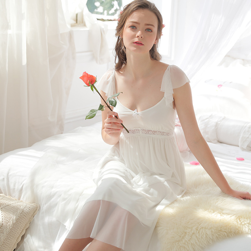 Summer sexy women sleepwear home clothing lace cotton nightgown mesh texture Palace princess European style girl Retro