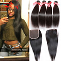 Indian Virgin Hair Straight With Closure 4pcs Lot Natural Indian Remy Hair Bundles With Lace Closures India Human Hair Weave