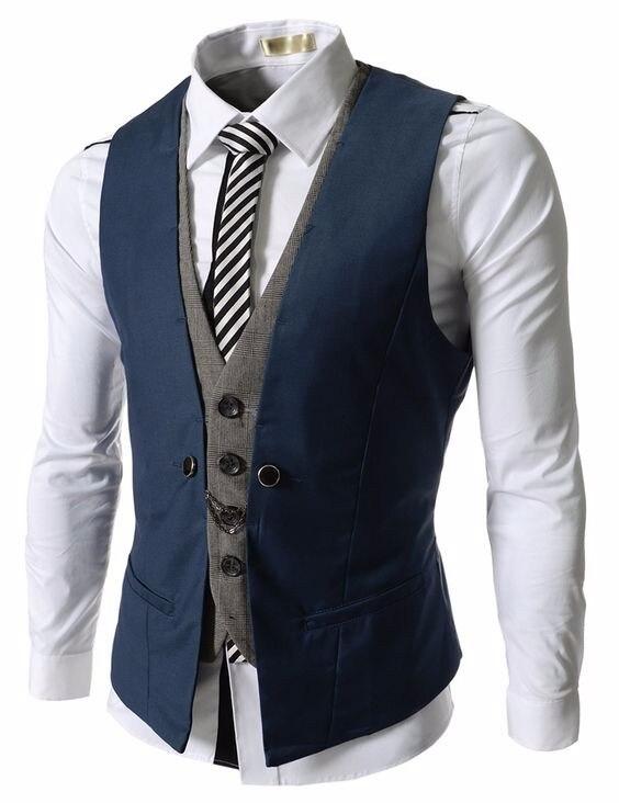 2017 Latest Coat Pant Designs Navy Blue Black Men Waistcoat Fashion Vest Custom Groom Prom Dinner Vests for Suit Terno Masculino