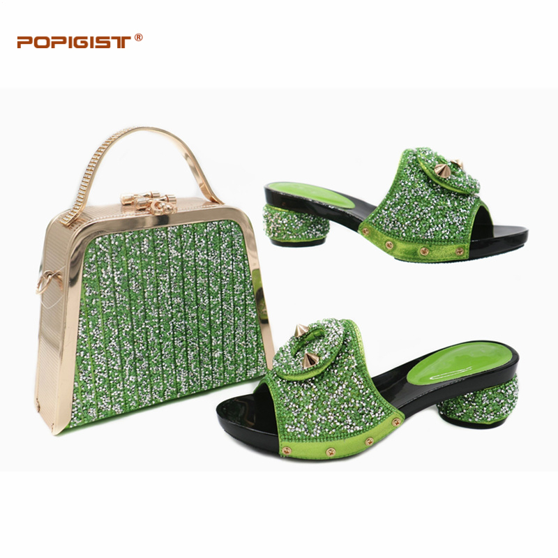 Zapatos Italianos Decorado Nigeriano Tacón Bolsas Verano Royal Para Boda Las Alto Rhinestone red Con A Mujeres purple Blue De Juego green BB1wr