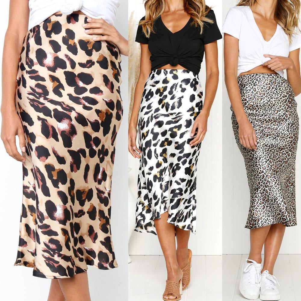 Womail Women Skirt Summer Fashion Casual Retro High Waist Leopard Printing Evening Party Long Skirt Daily  2020  F10