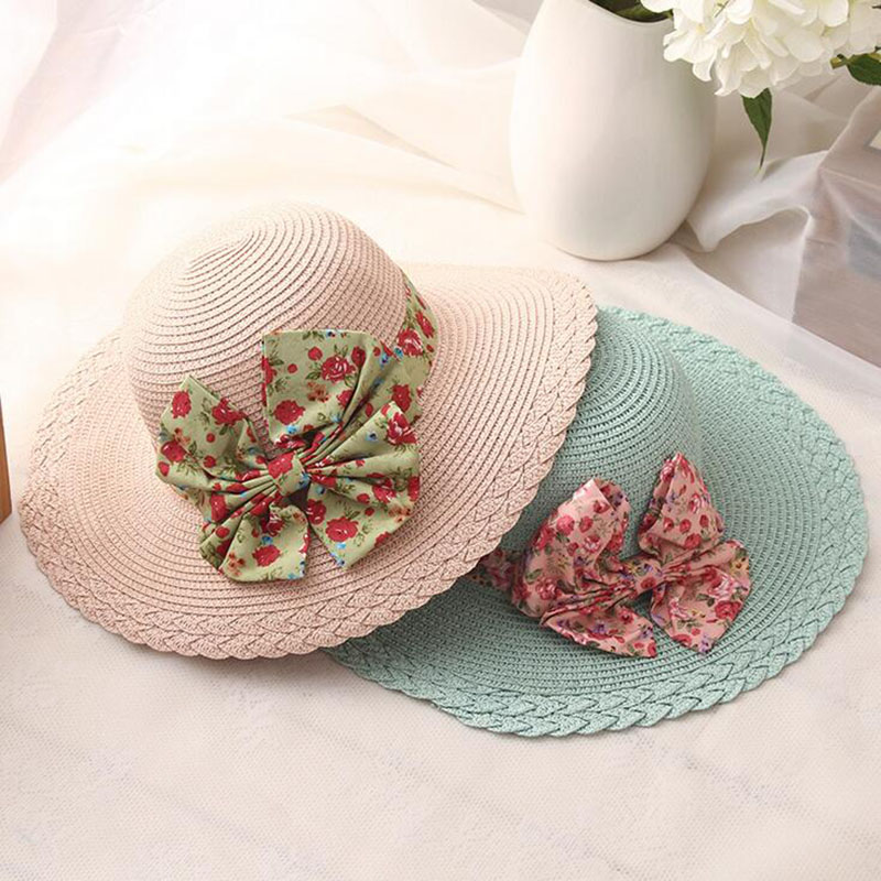 a883cbb5 2017New Wholesale and Retail Fashion Women Wide Large Brim Floppy Summer  Beach Sun Straw Hat Cap with big bow sun hats for women