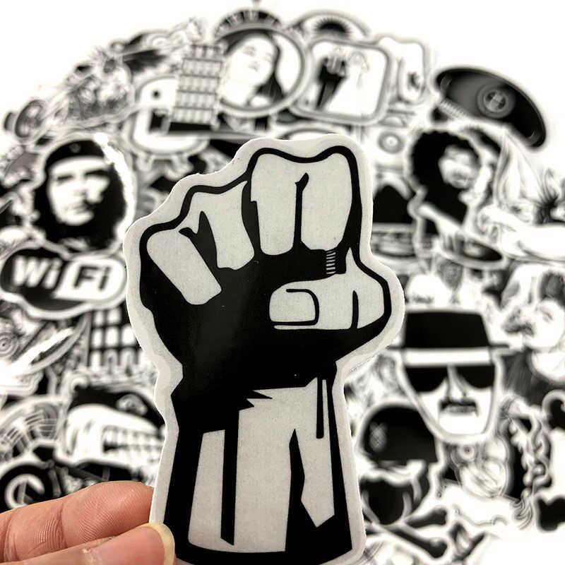 100 шт. черно-белая смешанная стикер мультяшка наклейка s для ноутбука скейтборд велосипедный чемодан ПВХ рок дизайн DIY аксессуар