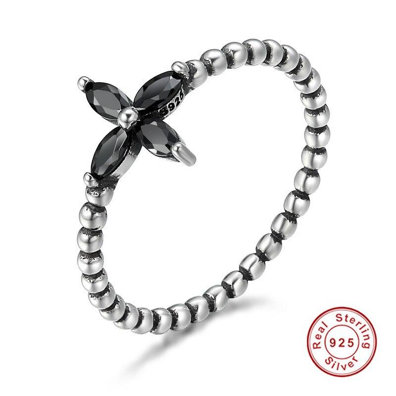 925 Sterling Silver Fashionable Modern Cross Flower Black Zircon Finger Rings for Women Jewelr