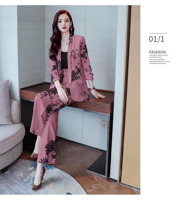 YASUGUOJI New 2019 Spring Fashion Floral Print Pants Suits Elegant Woman Wide-leg Trouser Suits Set 2 Pieces Pantsuit Women 33