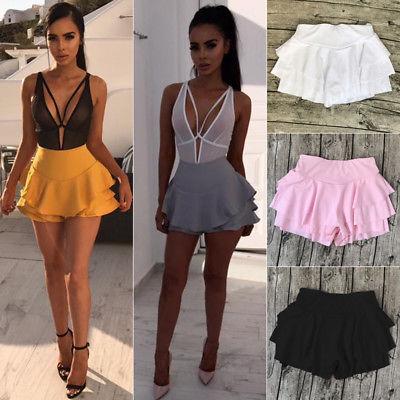 Mini Shorts Frill Ruffle Pink Black White High-Waist Summer Women Girl Solid Flared