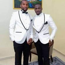 White Slim Fit One Button 2 Pieces Best Man Groomsmen Suit Groom Tuxedo Wedding Suit for Men Jacket+Pants