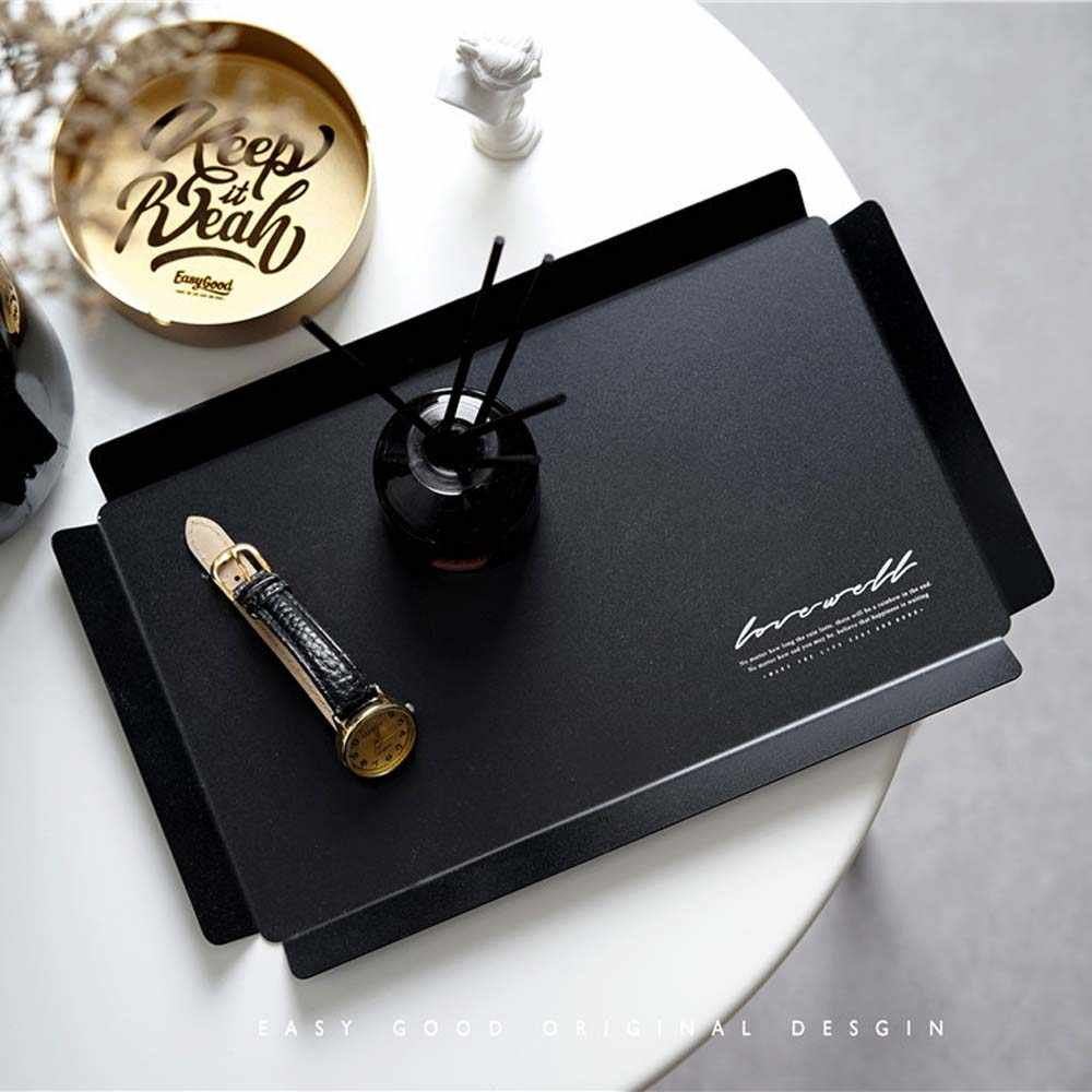 Nordic Black Rectangle Metal Storage Tray Desktop Jewelry Display Finishing Plate Simple Afternoon Tea Cake Drink Tray