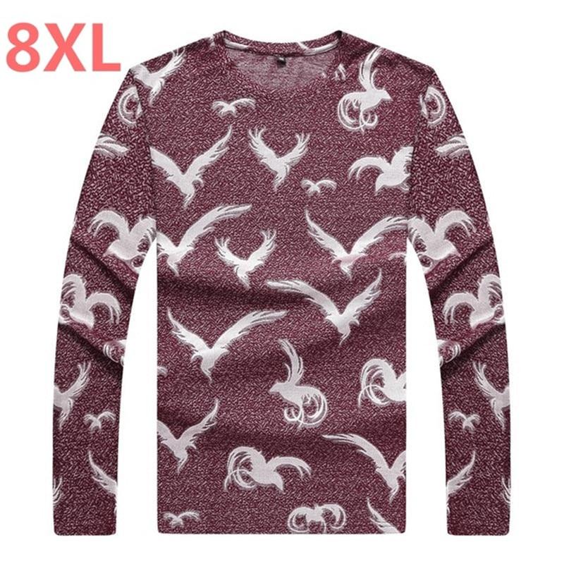 2018 nouvelle grande taille grande taille vêtements pour hommes t-shirt gros lâche mode imprimé T-shirt à manches longues chemise grande taille hommes 7XL 6XL 5X