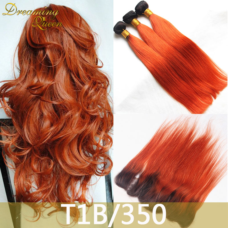 1b 350 Orange Ombre Malaysian Virgin Hair Straight Human Extensions With Lace Frontal 2 Tone Weave On Aliexpress Alibaba