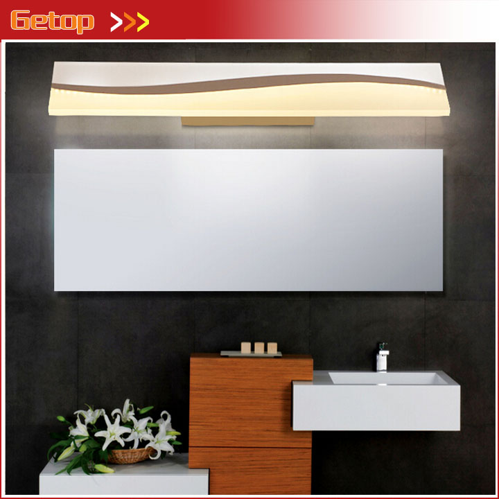 Modern Simple Mirror Front Wall Lamp Waterproof Fogproof LED Rectangle Makeup Light Bathroom Toilet Dressing Room Lamps zx modern acryl led mirror wall lamp waterproof and anti fog cabinet mirror light bathroom toilet dressing room make up lamp