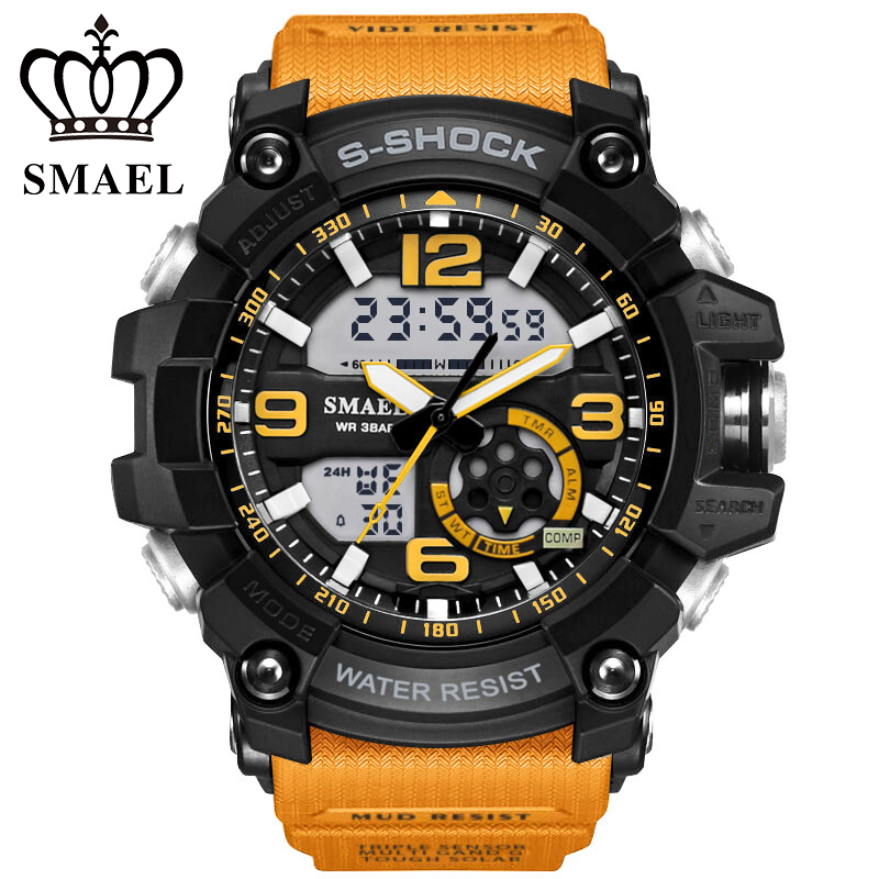 2018 SMAEL Marque Sport Militaire Montres relojes Hommes montre À Quartz Numérique Mode Extérieure Imperméable À L'eau LED Montres montre homme