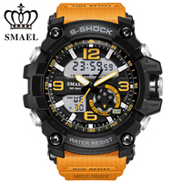 SMAEL Dual Display Military Sport Watches Relojes Men Digital Quartz Watch Fashion Outdoor Waterproof LED Watches