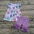 Girls Easter Boutique 2017 Girls Rabbit Print top and solid short Baby Girl Clothes Boutique sets