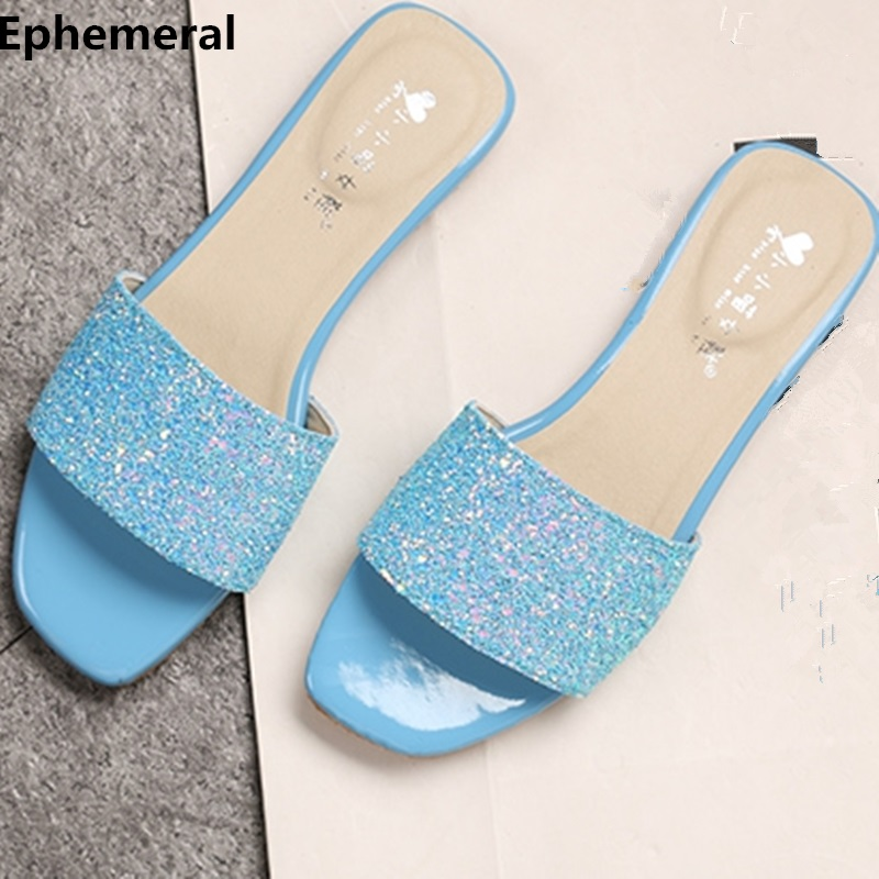 Women home and outdoor flat slippers cute bling shoes open toe summer flip flops fashion slides for ladies white and black 44 45