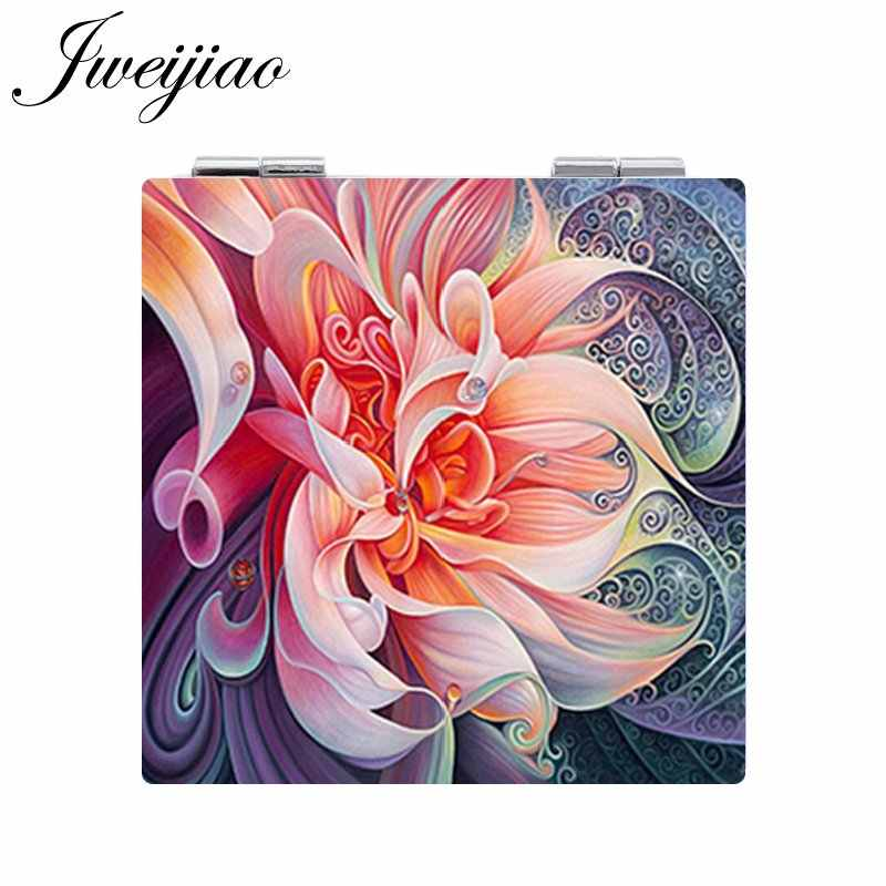 JWEIJIAO Beautiful Flowers Potted plant Birds Photo Pocket Mirror Mini Folding Square 1X/2X Magnifying PU Leather Makeup Mirror